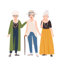 Group of smiling elderly women dressed in elegant vector