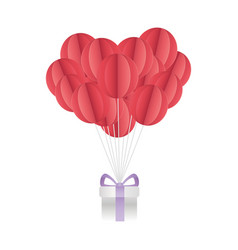 happy valentines day air balloons and gift origami vector image