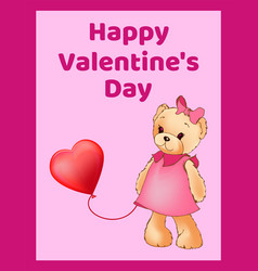 happy valentines day poster banner with cute teddy vector image