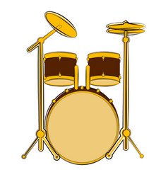 Isolated drum set sketch musical instrument vector