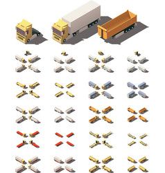 Isometric trucks with semi-trailers icon vector