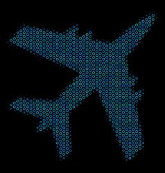 jet plane composition icon of halftone spheres vector image
