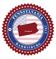 Label sticker cards of State Pennsylvania USA vector image