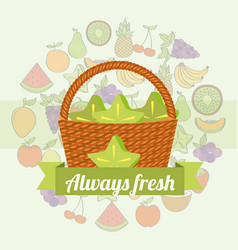 label wicker basket with always fresh carambola vector image