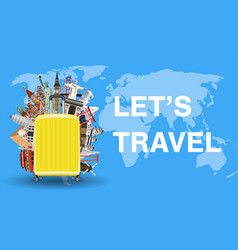 Lets travel with luggage bag and world landmark vector