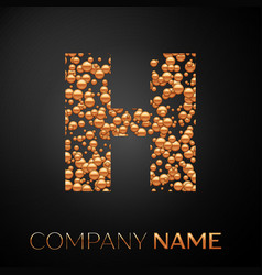 letter h logo gold dots alphabet logotype vector image