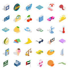 Letter icons set isometric style vector