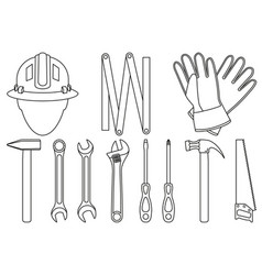 Line art black and white 11 handyman tools set vector