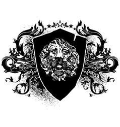 Lion shield design elements vector image