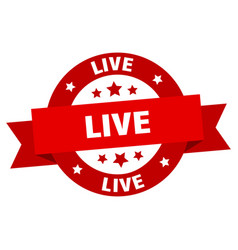 live ribbon live round red sign live vector image