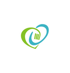 Love fork eco logo vector