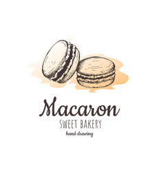 macaron macaroon almond cakes vector image