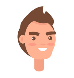 male cartoon head with smile isolated vector image