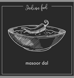 Masoor dal with chili pepper in bowl from indian vector