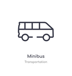Minibus outline icon isolated line from vector