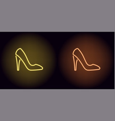 neon women shoe in yellow and orange color vector image