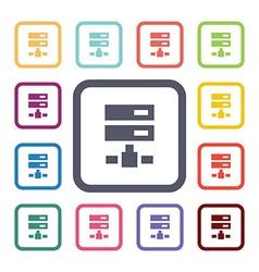 net drive flat icons set vector image