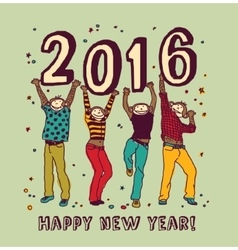 New year sign and happy monkey color card vector image
