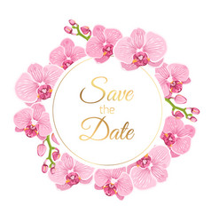Orchid phalaenopsis floral wreath wedding invite vector