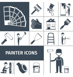 Painter icons set black vector image