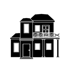 pictogram house with balcony roof vector image