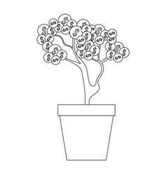plant with coins icon vector image