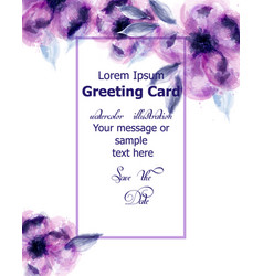 Purple flowers watercolor card purple vector