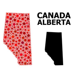 Red starred pattern map alberta province vector
