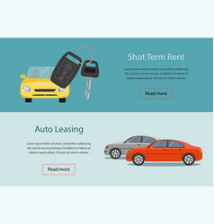 Rental car and auto leasing banners vector