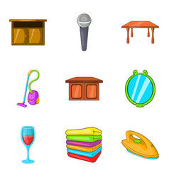 Rural manor icons set cartoon style vector