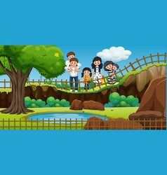scene with people at park vector image