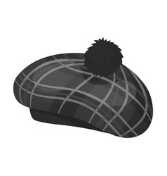Scottish traditional cap icon in monochrome style vector