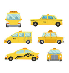 Set different types taxi cars vector