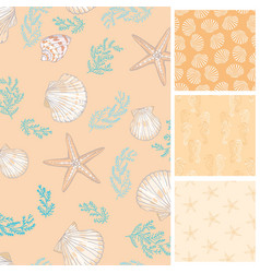 set marine and nautical backgrounds in navy vector image