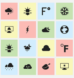 set of 16 editable weather icons includes symbols vector image