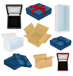 Set of boxes - gift jewelry wrap cardboard box vector