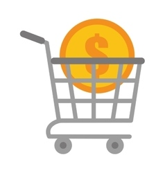 shopping cart online coin dollar vector image