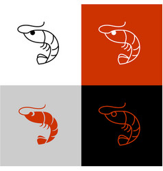 Shrimp linear icon line style symbol of vector