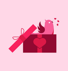 singing bird gift box graphic vector image