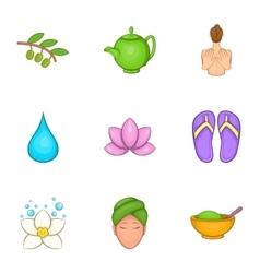 SPA icons set cartoon style vector image