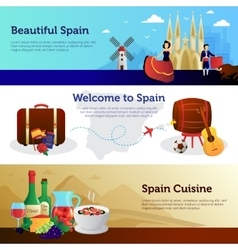 Spain Welcome Travelers Banners Set vector
