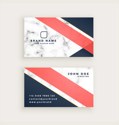 Stylish marble texture business card design vector