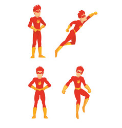 superhero strength in different poses with the vector image