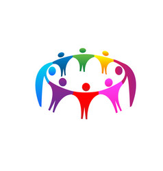 teamwork people together unity logo vector image