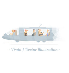 the driver of the train and passengers vector image