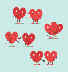 two happy hearts in love cute couple in love vector image
