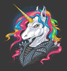 unicorn punk jacket rider with full colour rainbow vector image