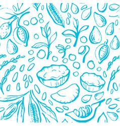 vegan milk seamless pattern hand drawn print vector image