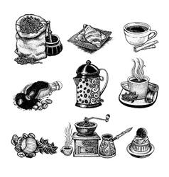 Vintage coffee set vector