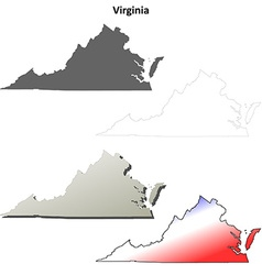 Virginia outline map set vector image